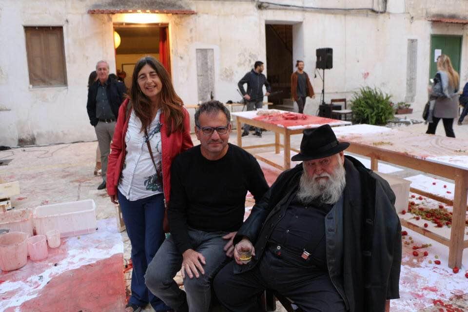 Con Hermann Nitsch, Casa Morra-Fondazione Morra, Napoli 2017