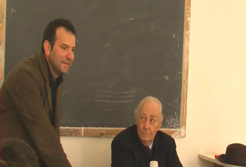 Con Fabio Mauri, Accademia di Belle Arti di Roma, 2005