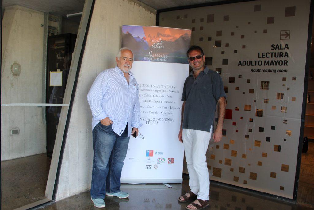 Con Alberto Grottesi Errazu, direttore della Bienal del Fin del Mundo, Valparaìso 2015